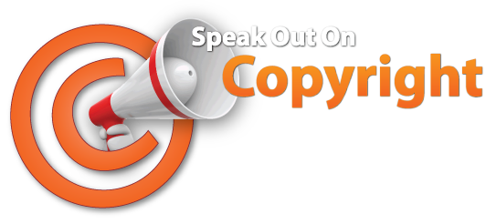 Speak Out On Copyright bullhorn logo