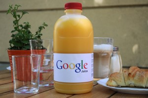 A bottle of juice with a Google label