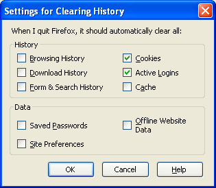 Screenshot of Clearing History dialoge
