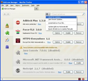 Screenshot of the Firefox Add-ons Update button