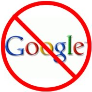 "Google wordmark in a ""No"" symbol"