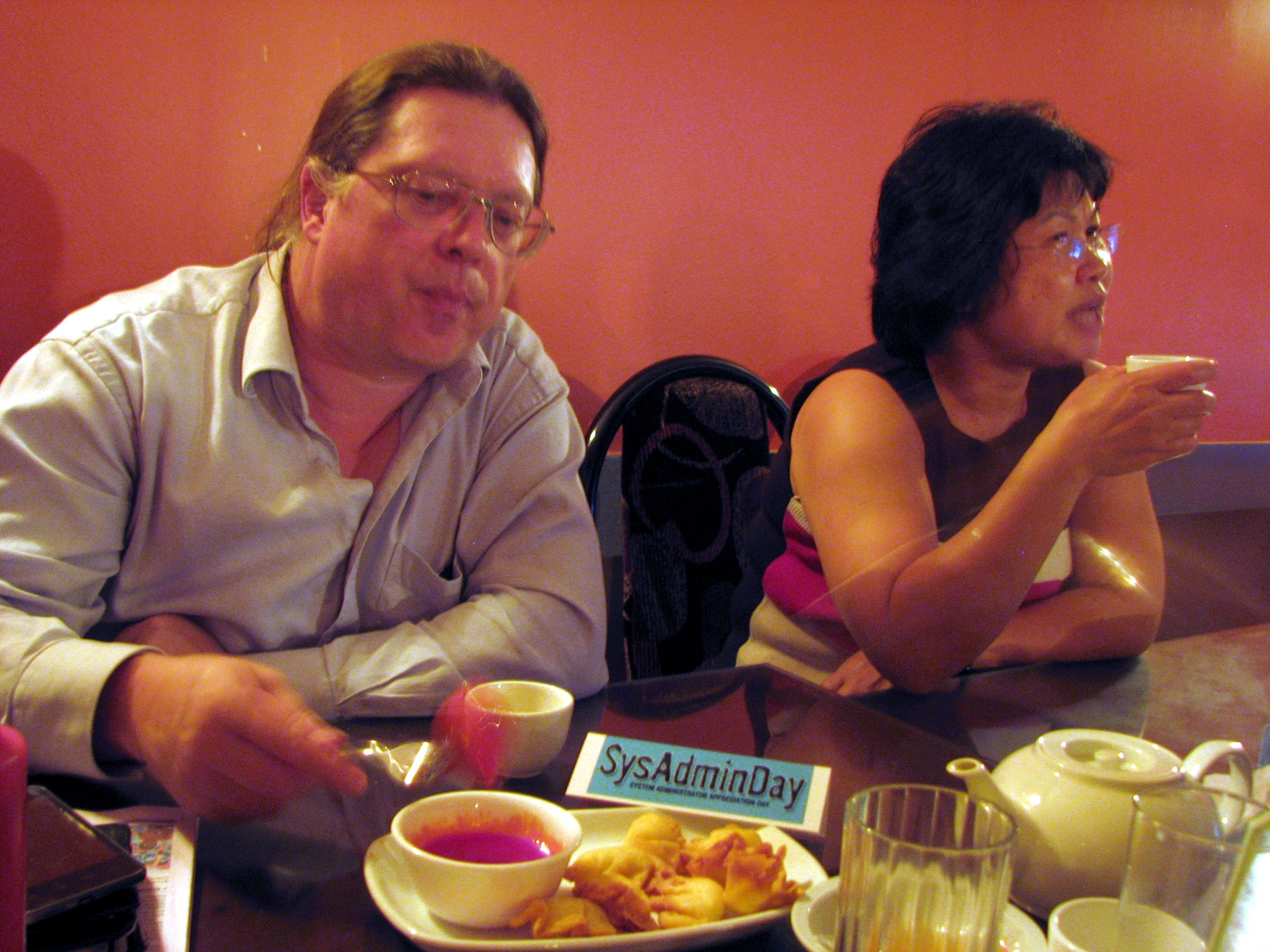 SysAdminDay Dinner, Bob and Becky