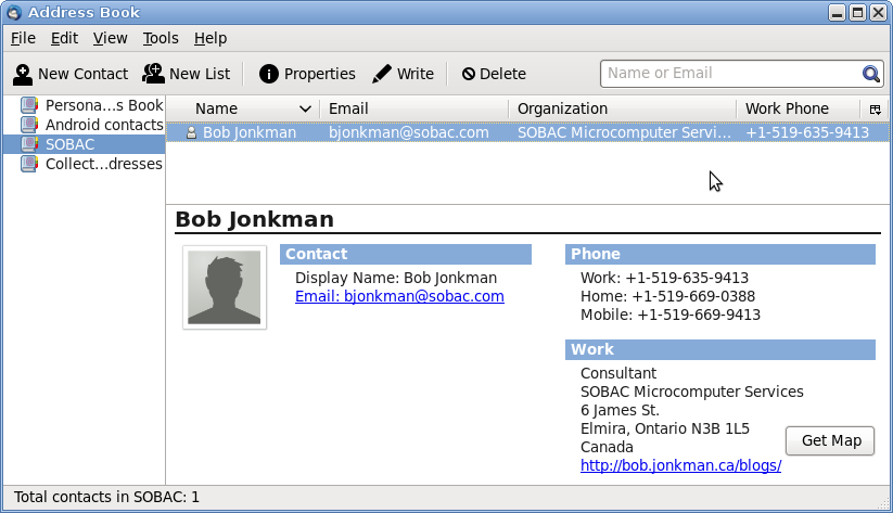 Screenshot of Thunderbird Address Book showing Bob Jonkman