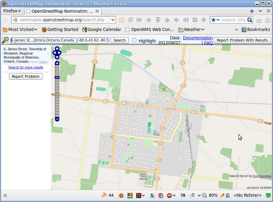 Screenshot of OpenStreetMap