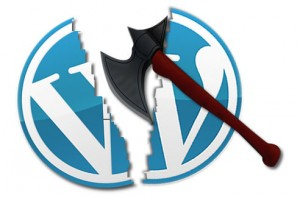 WordPress logo cleaved by axe