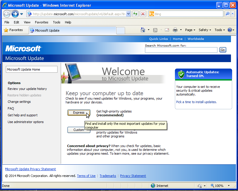 Screenshot showing Microsoft Update selecting Express Update